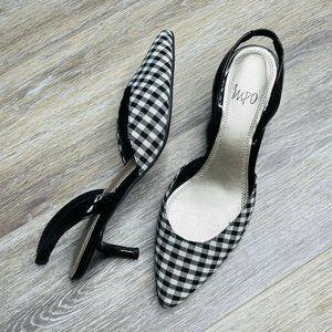 Impo Black White Kitten Heels Size 8 Buffalo Check